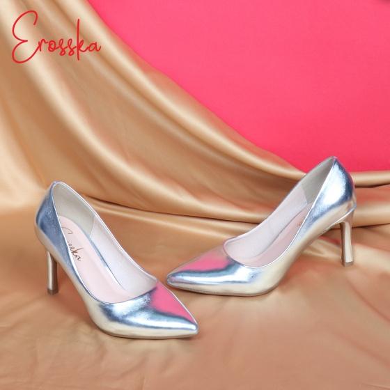 Giày nữ, giày cao gót kitten heels Erosska gót nhọn cao 7cm thời trang ánh kim - EH023 (WH)