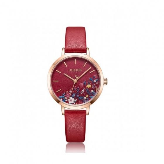 Đồng hồ nữ Julius JA-1089C dây da đỏ