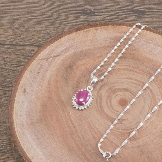 Dây chuyền đá Ruby oval bọc bạc Ngọc Quý Gemstones