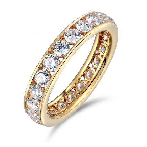 Nhẫn nữ đá kim cương nhân tạo mạ vàng 14k - NNU300
