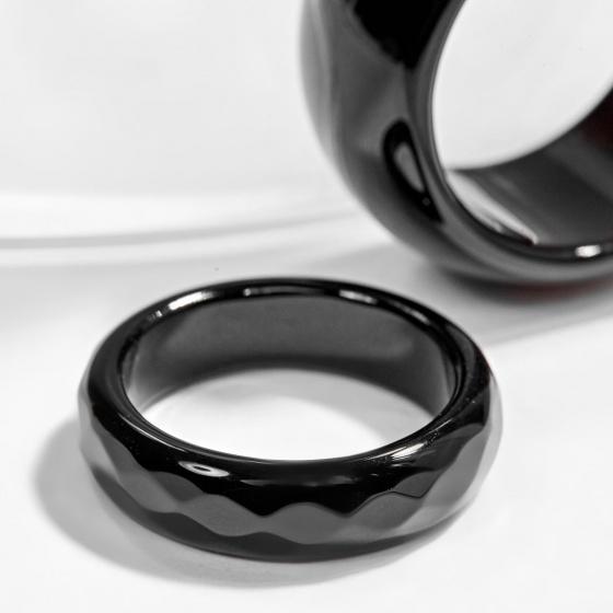 Nhẫn cặp nam và nữ mã não đen Ngọc Quý Gemstones