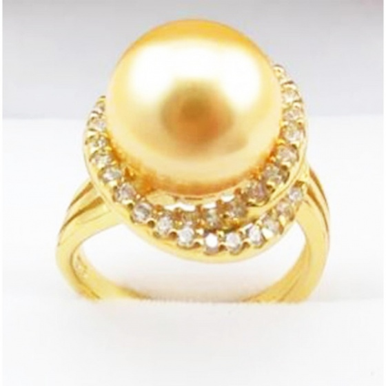 Nhẫn nữ ngọc trai tự nhiên mạ vàng 14k - NNU301