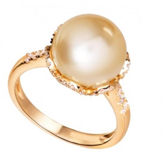 Nhẫn nữ ngọc trai tự nhiên mạ Vàng 14k - NNU403