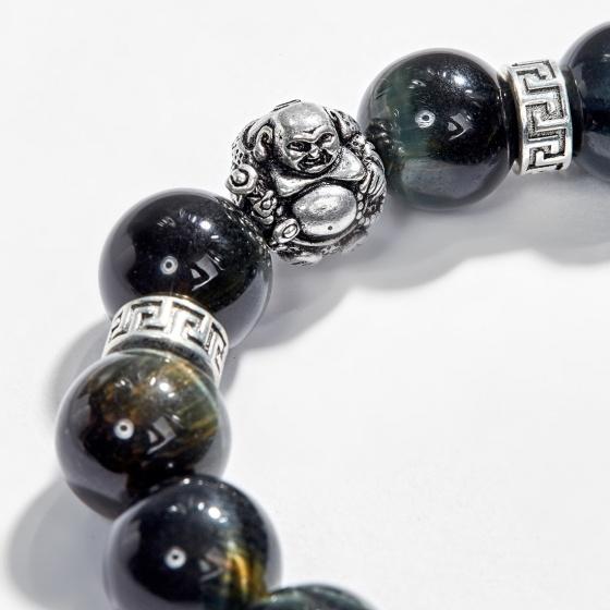 Vòng tay thạch anh mắt hổ xanh đen phối charm phật di lặc (12mm) Ngọc Quý Gemstones
