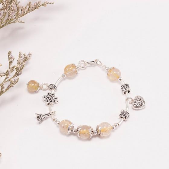 Vòng tay thạch anh tóc vàng phối charm trái tim bạc (10mm) Ngọc Quý Gemstones