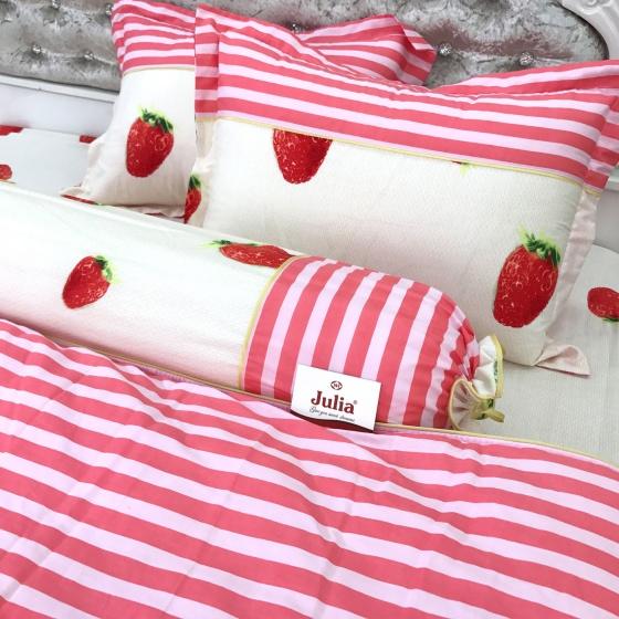Bộ ga gối cotton sợi bông nhập khẩu Hàn Quốc Julia (bộ 4 món k chăn) 248BK16