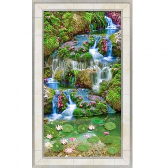Tranh dán tường 3D thác nước và hoa sen TDT09 (Kích thước : 100x150cm)
