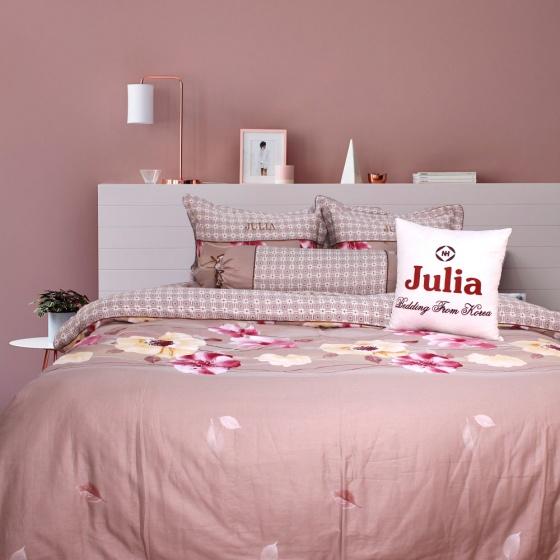 Bộ chăn ga gối 5 món cotton satin Hàn Julia 491BG16