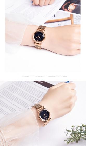 Đồng hồ nữ JA-1172 Julius Hàn Quốc dây nam châm mặt kính 3D
