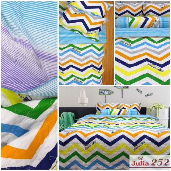 Bộ chăn ga gối cotton sợi bông Hàn Quốc Julia (bộ 5 món có chăn chần gòn) 252BG16