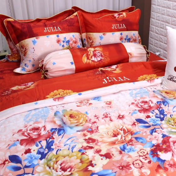 Bộ vỏ chăn ga gối cotton satin Hàn Quốc Julia (bộ 5 món có vỏ chăn) 494BM18