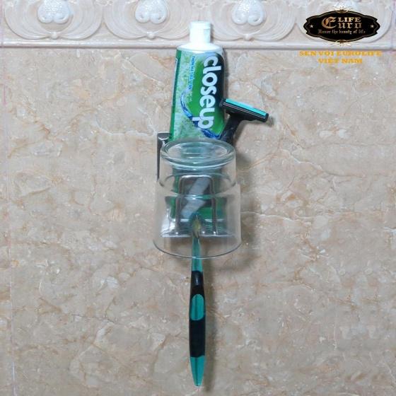 Kệ đa năng để ly, bàn chải, kem đáng răng, dao cạo râu Inox SUS 304 Eurolife EL-TR02