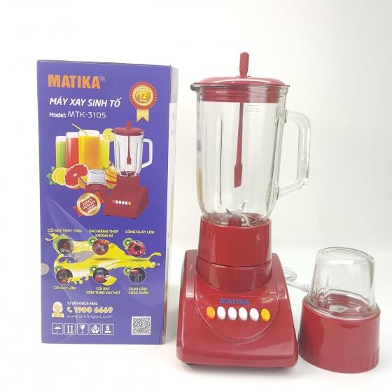 Máy xay sinh tố cao cấp Matika MTK - 3105 cối thủy tinh