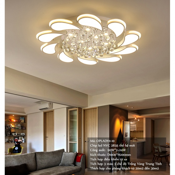 Đèn mâm ốp trần pha lê 01110 - OP1110 - Đèn trang trí Homelight