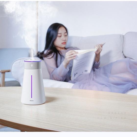 Máy phun sương, tạo ẩm, lọc không khí kèm quạt và đèn led Baseus Slim Waist Humidifier (380ml, USB 5V, Ultrasonic Air Diffuser/ Humidifier Atomizer)