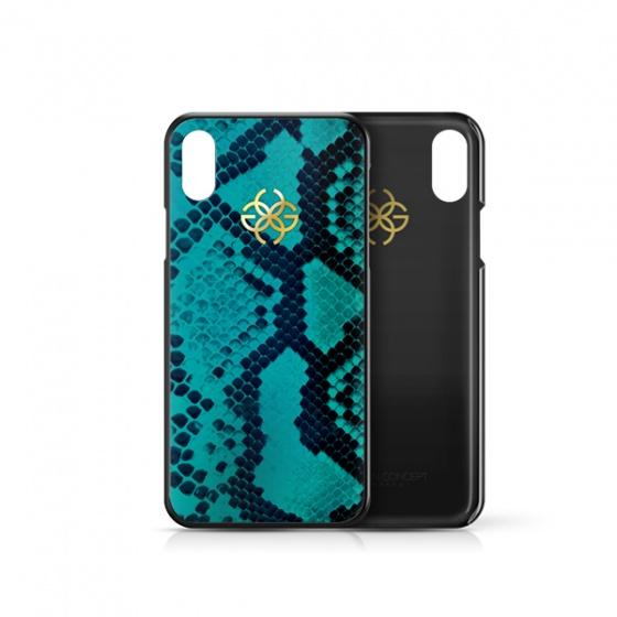 Ốp lưng điện thoại iphone Xs Max da trăn màu xanh dương