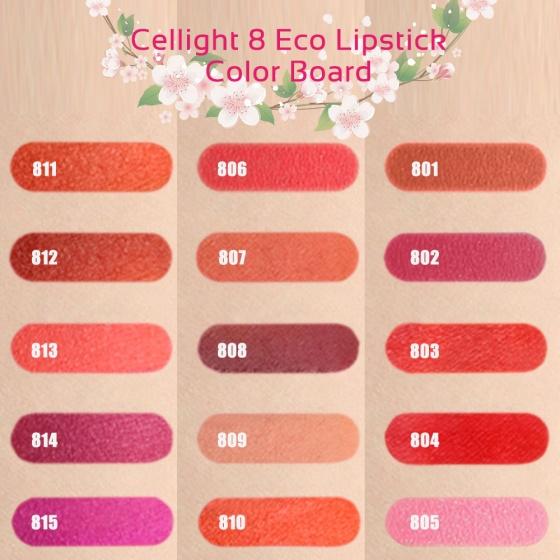 Son mini thiên nhiên không chì Cellight 8 Eco Lipstick - 810-Leo - san hô
