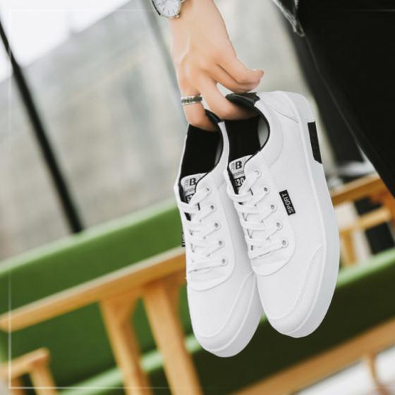 Giày nam thể thao vải mềm sneaker xanh