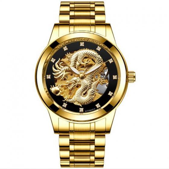 Đồng hồ cơ nam lộ máy chạm rồng 3D mặt vàng