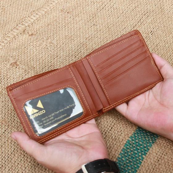 Ví nam, bóp da nam da bò nguyên miếng Manzo VN52.V (ví ngang) - tặng móc khóa da bò
