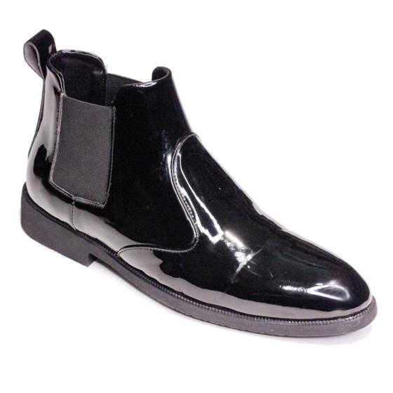 Giày boot nam cổ chun da bóng màu đen sang trọng và phong cách - cb520-Bóng