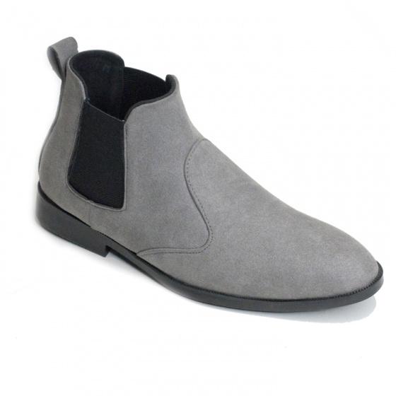 Giày chelsea boot nam cổ chun da buck xám đế khâu rất chắc chắn - CB520-bucxam