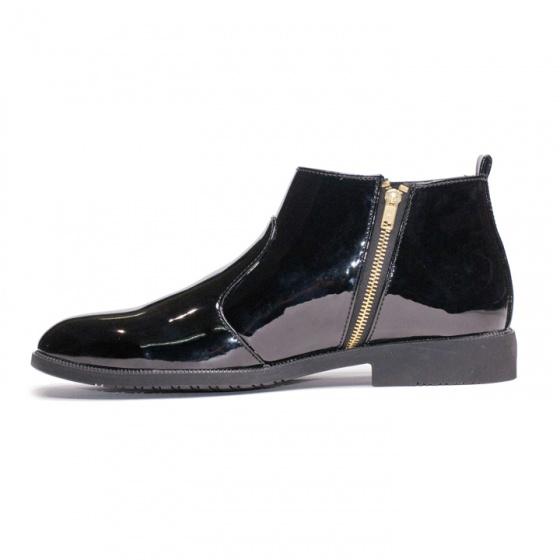 Giày chelsea boot nam cổ khóa da bóng màu đen đế có khâu chắc chắn - CB521-bong