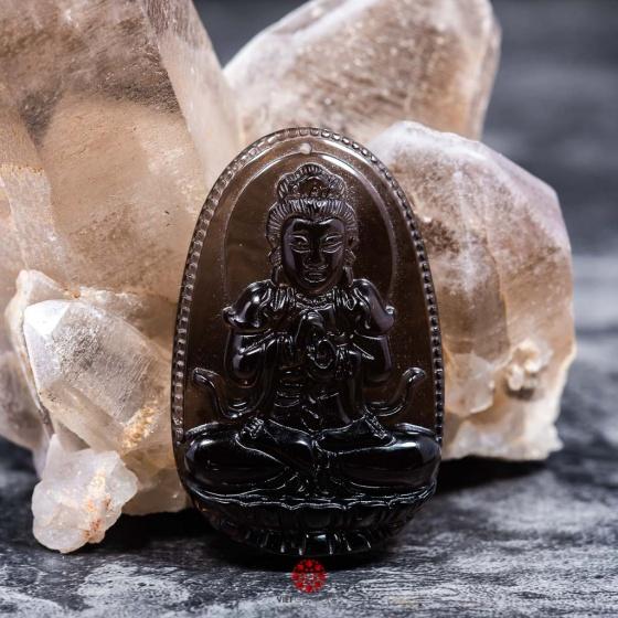 Mặt dây chuyền Như Lai Đại Nhật đá Thạch anh khói Smoky Quartz - Phật độ mạng cho người tuổi Mùi, Thân size lớn PBMSMO06B|VietGemstones