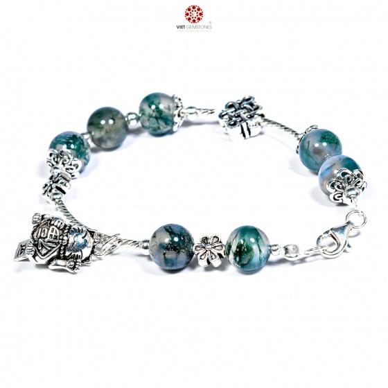 Vòng tay băng ngọc thủy tảo phối charm bạc BRMAM01
