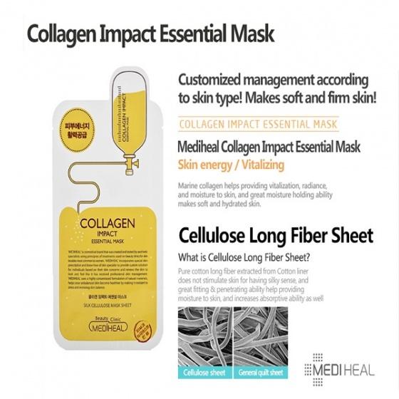 Hộp mặt nạ dưỡng săn chắc da ngăn ngừa lão hóa da Mediheal collagen impact essential mask ex