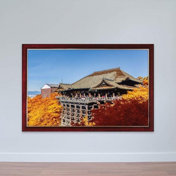 """Tranh chủ đề Nhật Bản """"Chùa Kiyomizu-dera mùa thu"""" tranh treo phòng họp W3149"""