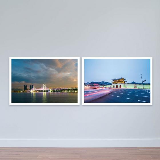 Bộ 2 tranh Hàn Quốc chủ đề cổ kính và hiện đại tranh treo phòng họp W3184