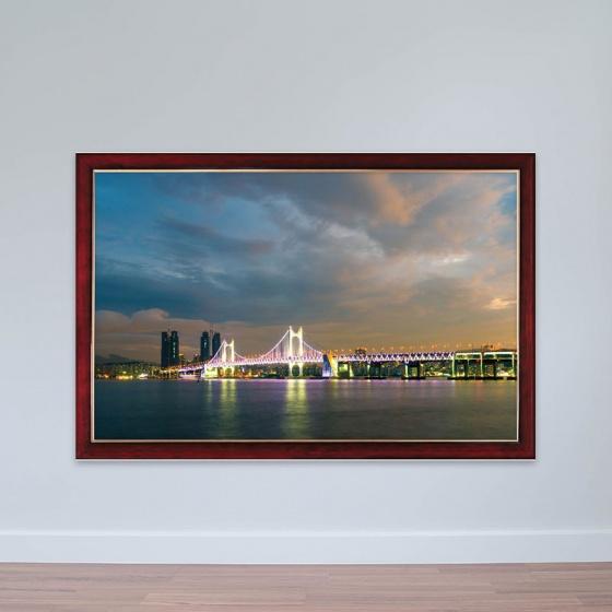 """Tranh chủ đề Hàn Quốc """"Cầu Gwangan"""" tranh treo phòng họp W3179"""