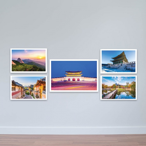 Bộ 5 tranh chủ đề Hàn Quốc phong cảnh và kiến trúc trữ tình tranh treo phòng họp W3177