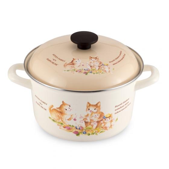 Nồi tráng men cao cấp Nhật Bản Fujihoro (Hoa Văn Con Mèo) KIT-2.5