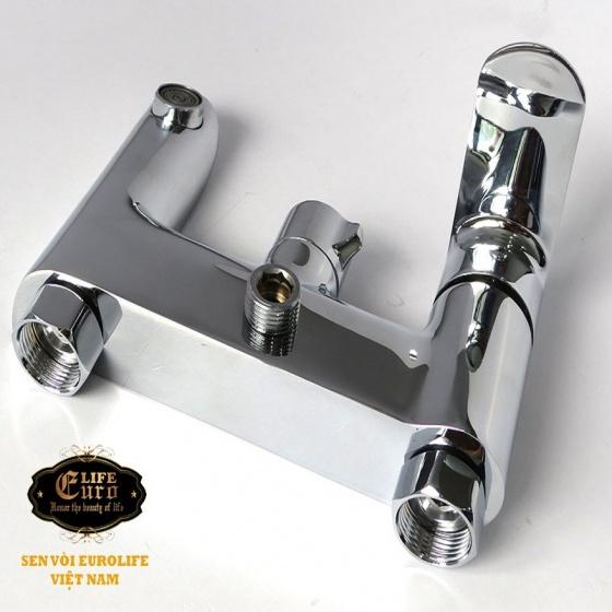 Bộ vòi sen nóng lạnh Đồng mạ Chrome Eurolife EL-VIO 01 (Trắng bạc)