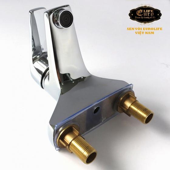 Vòi lavabo 2 chân đồng mạ Chrome Eurolife EL-IRIS 03 ( trắng bạc)
