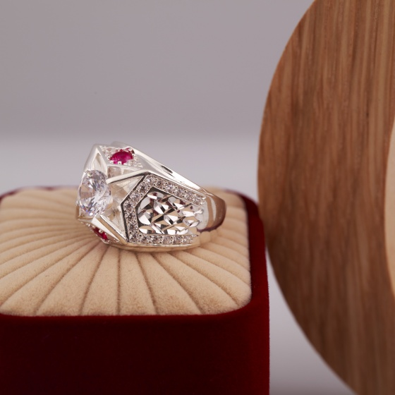 Opal-Nhẫn bạc nam cao cấp đính đá Ross_T6