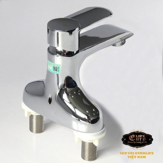 Vòi Lavabo nóng lạnh 2 chân Đồng mạ Chrome Eurolife EL-VIO03 (Trắng bạc)