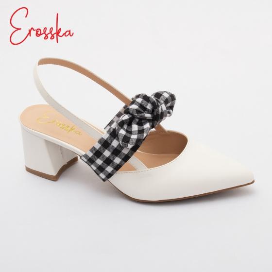 Giày nữ, giày cao gót slingback phối nơ hở gót cao 5cm erosska _ EH028 (màu trắng)