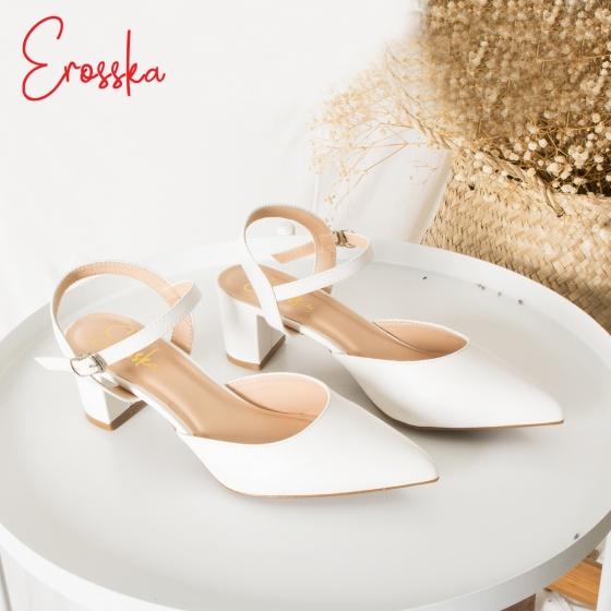 Giày nữ, giày cao gót kitten heels erosska mũi nhọn phối dây hở gót cao 5cm _ EK001 (màu đen)