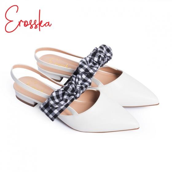 Giày nữ, giày sandal nữ đế bệt mũi nhọn phối nơ thời trang Erosska EL007 màu nude