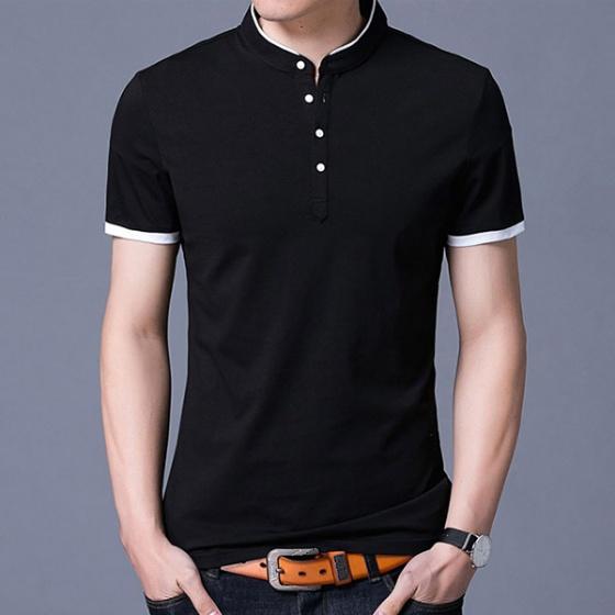Áo thun ngắn tay cổ trụ phong cách Hàn Quốc Bonado ATN01 - Đen