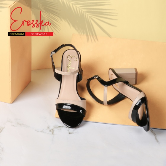 Giày nữ, giày cao gót block heels Erosska thời trang phối màu độc đáo - EM004 (BA)