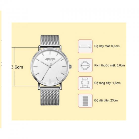 Đồng hồ nam dây kim loại chính hãng Julius Hàn Quốc JA-1164MA (bạc)