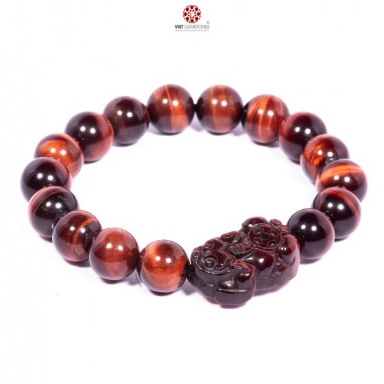 Vòng tay đá Mắt hổ đỏ tự nhiên 10mm mix Tỳ hưu BTIGR10T03 - Vietgemstones