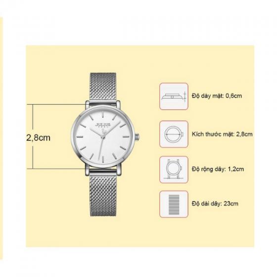 Đồng hồ cặp chính hãng Julius Hàn Quốc JA-1164a (bạc)