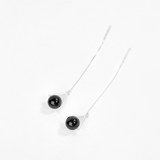Bông tai nữ bạch kim đá thạch anh đen - Ngọc Quý Gemstones