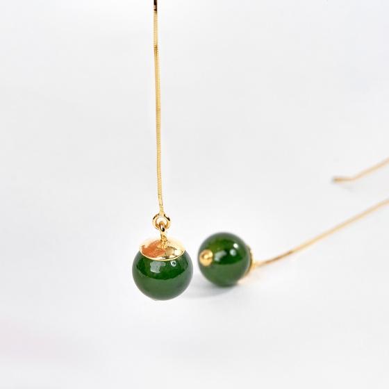 Bông tai nữ vàng 18k đính đá ngọc bích (1.34 chỉ) - Ngọc Quý Gemstones
