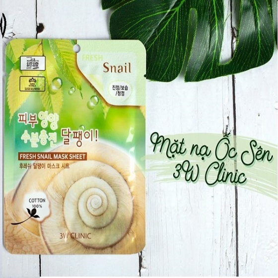 Bộ 5 mặt nạ chiết xuất ốc sên 3W Clinic Fresh Snail Mask Sheet 23ml x 5